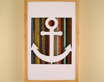 """Anchor - 17"""" by 11"""" Recycled Wood Silhouette Wall Art"""