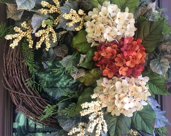 Fall Wreath, Summer Wreath, Hydrangea Wreath, Grapevine Wreath, Front Door Wreath