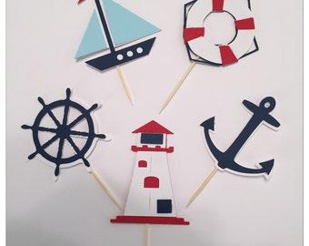 NAUTICAL Cupcake Toppers,beach cupcake toppers, baby shower cupcake toppers, nautical birthday party decor, nautical baby shower party decor