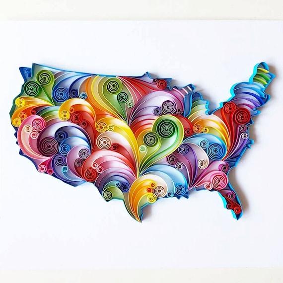 USA carte - carte des USA - USA carte murale Art - carte des États-Unis - United States Map - carte personnalisée Wall Art - carte personnalisée - Art mural
