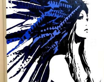 Native American Indian Hand Painted Acrylic Stencil Art Painting On Gallery Wrapped Canvas Ready To Hang