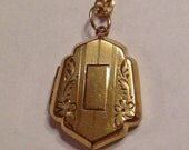 """Vintage Gold Filled Engraveable Locket, Mid Century on 18"""" Chain"""