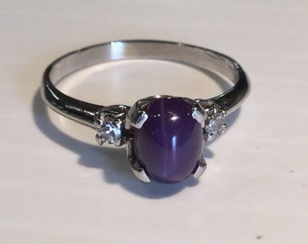Vintage 14k White Gold Purple Star Sapphire and Diamond Ring