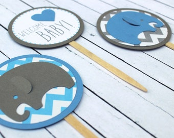 Elephant Baby Shower Cupcake Toppers - Elephant Chevron - Chevron Baby - Elephant Toppers - Blue and Gray Elephant - Baby Elephant