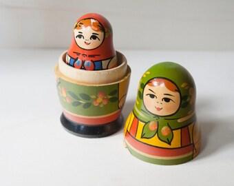 Vintage original pieces 4 years 80 matryoshka. Russian Matryoshka doll collectibles.