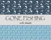 GONE FISHING - Fishing Crib sheets - Fitted Crib sheet - Fishing changing pad covers - Fishing Nursery - Fish Fitted Crib Sheet -Fish Hook
