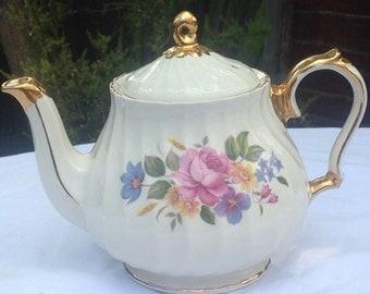 Vintage Sadler Floral and Gold Fluted Teapot