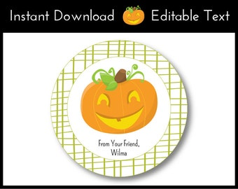 Halloween Favor Tags, Halloween Tags, Pumpkin Favor Tags, Pumpkin Tags, Jack O'Lantern Favor Tags, Pumpkin Labels Instant Download, Editable