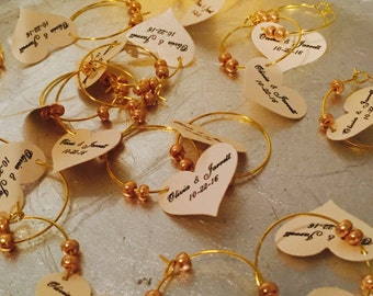Champagne color Bride & Groom Wine Charms!! Bridal shower favors, Champagne Favors, Gold Wedding Favors, 50th Anniversary Favors