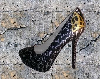 Charmed Heels / Wiccan Heels / Triquetra Heels / Custom Women's Heels / Women's Hand Painted Heels / Hand Painted Pumps / Triquetra Pumps