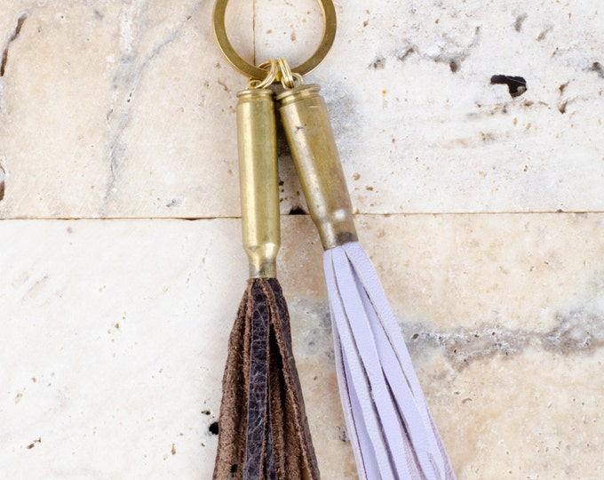 Lilac and Deep Brown Authentic Leather Tassels encased in Gold Bullet Shell Key Chain