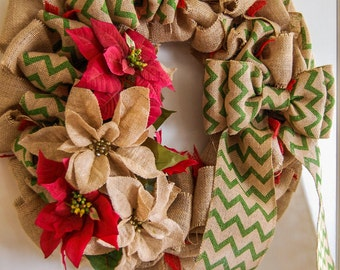 Large Christmas Holiday Front Door Burlap Wreath with Poinsettias and Chevron Pattern Bow
