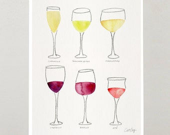 "Wine Collection – Signed Watercolor Painting Art Print by CatCoq. Artwork Printed on 8.5""x11"" paper and fits 8""x10"" frame. Home Decor + Bar"