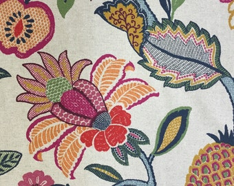 Jacobean Pop Of Color - Upholstery Fabric By The Yard - P Kaufmann Grace Parchment - Timeless