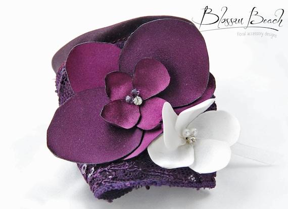 Aubergine orchid lace corsage/wrist cuff;bridesmaid corsage;mother-of-the-bride wrist corsage