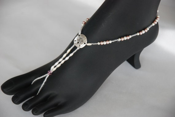 Ivory and mauve beaded barefoot sandals;beaded barefoot sandals;beach wedding barefoot sandals