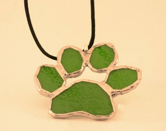 Stained Glass Paw Print Pendant-Green