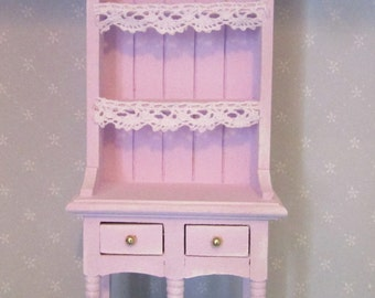 1 12th Scale Shabby Chic Painted Dresser In Pink And Green