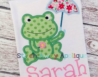 Frog with Umbrella Onesie or Toddler Shirt