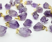 Small Amethyst Quartz Pendant. Natural Crystal Healing Chakra Stone Charms. Birthstone Necklace DIY. Fit for Choker Necklace Earrings Making
