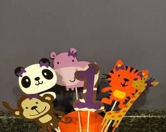 Six Piece Girl Jungle Animal Centerpiece