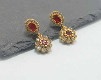 Turkish Jewelry   Red Ruby Gemstone White Clear Zirconia  vintage Antique Look Feel Timeless classic jewelry