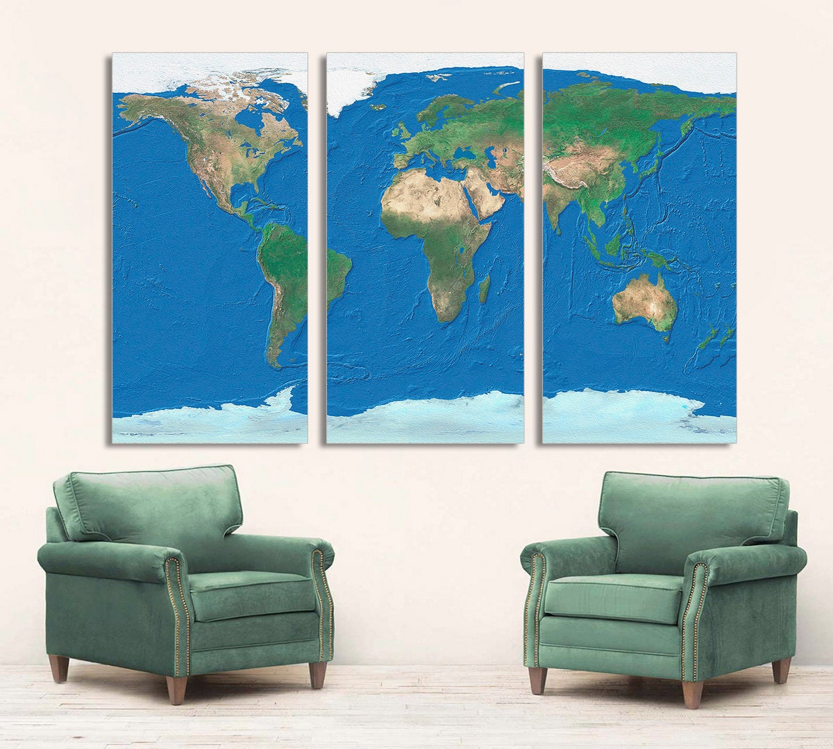 3 Panel Split Art World Map Canvas Print Triptych For: 3 Panel Split World Map Canvas Print. Digitally Bubble Texture