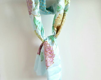ON SALE Silk Scarf Hand Painted Pale Blue & Multi Pastel Blossoms Size 13x60 in. Birthday Gift  Hand Dyed Scarf Gift Wra