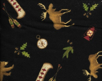 New Lodge Life All Over Toss on Black  Flannel Fabric by the yard and half-yard