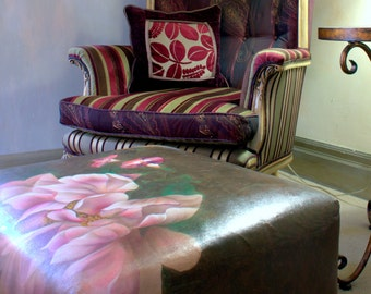 Upcyled, Upholstered, Ottoman ,Hand Painted, Pink and Brown, Jane Hall Design