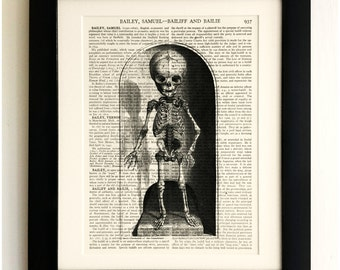 FRAMED ART PRINT on old antique book page - Skeleton, Bell Jar, Vintage Wall Art Print Encyclopaedia Dictionary Page
