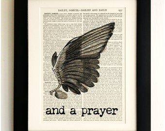 FRAMED ART PRINT on old antique book page - Wing and a Prayer Quote, Vintage Upcycled Wall Art Print Encyclopaedia Dictionary
