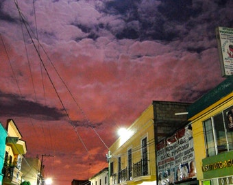 Quiet Streets, Town in Mexico at Night, Buildings, Suburb, Sunset, Travel Photography