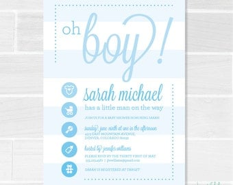 Oh Boy — Blue Printable Baby Shower Invitation, Boy Baby Shower Invitation, Matching Thank You Card