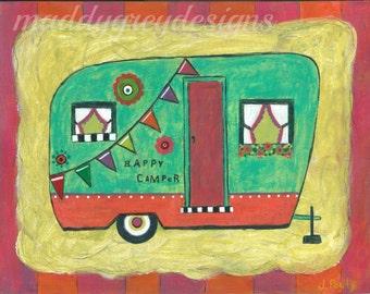 vintage camper art, camper, happy camper, vintage camper, camper decor, camper art decor, travel camper, travel camper decor, camp, vintage