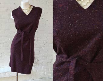 1960s Burgundy Speckled Wool Dress