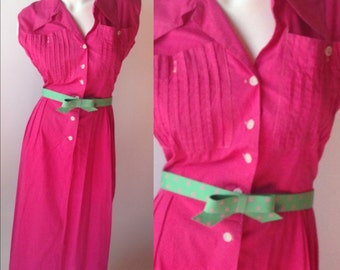40s Vintage Pink Sleeveless Dress with Pleated Front Pockets