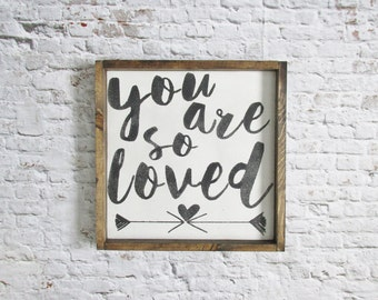 You Are So Loved Wood Sign. Nursery Decor. Rustic Signs. Wooden Signs. Rustic Nursery Decor. Farmhouse Decor. Gallery wall art gift under 50