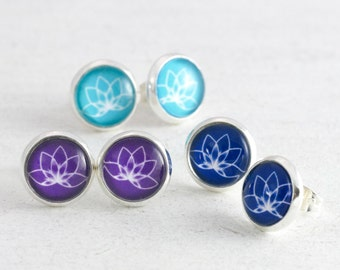 Yoga Jewelry, Lotus Earrings, Lotus Flower, Personalised Earrings, Purple Stud Earrings, Minimalist Jewelry, Yoga Gift, Personalised Jewelry