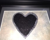 Black, Silver Trimmed Heart - Sparkle Artwork, Frame, Wall Decor, Home Office Art, Desktop Art, Picture, Girls, Artist, Painting,