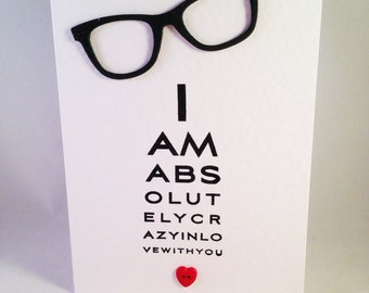 Opticians Eye Chart Spectacle - Crazy in Love Card