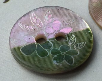 Vintage Buttons - green and pink painted shell