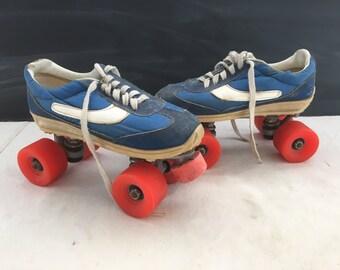 Vintage 1970s Sneaker Roller Skates - Chicago Brand Roller Skates - Prop - Costume - Roller Derby - Skates