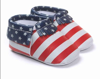 American Flag Baby Fashion Soft Sole Leather Shoes Toddler Infant Boy/Girl Tassel Moccasin