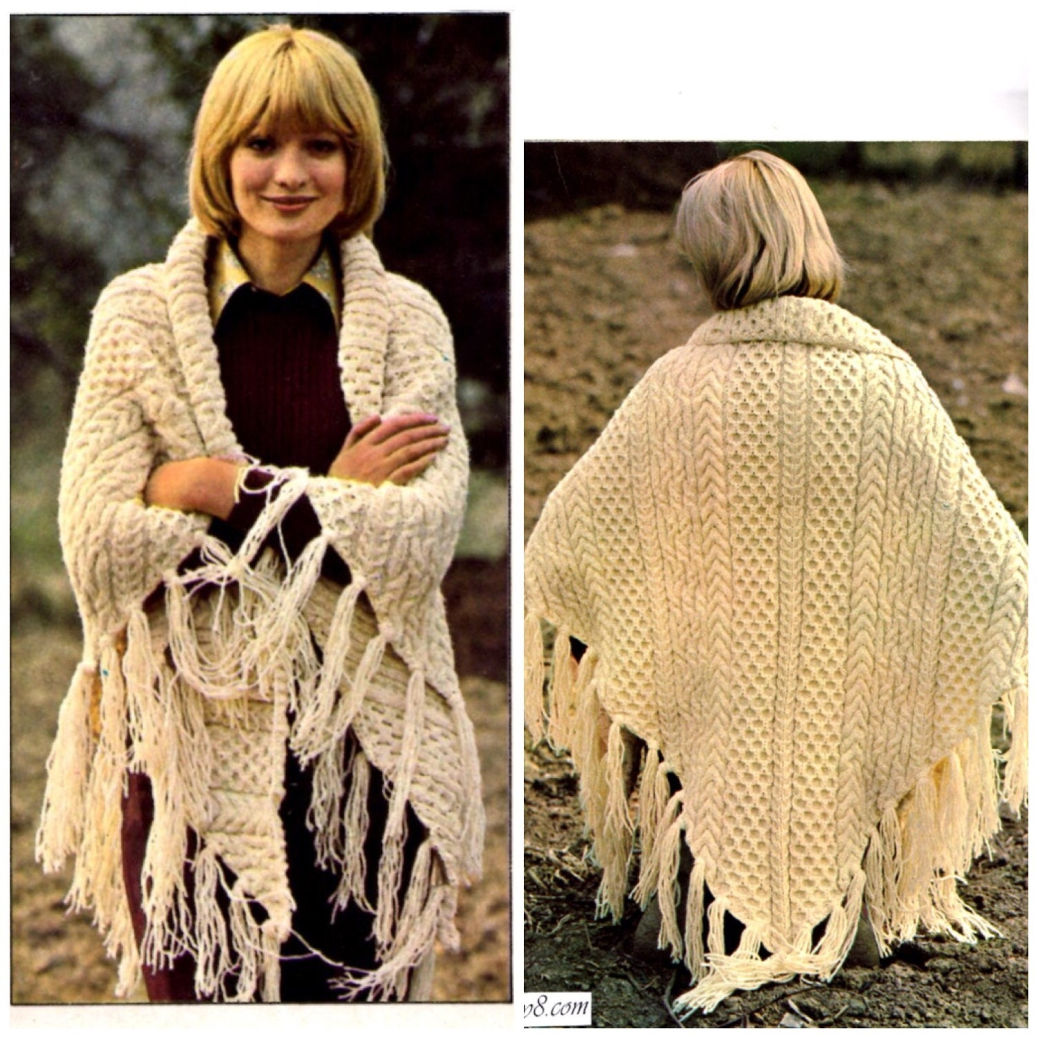 Vintage Shawl Knitting Patterns : Vintage Shawl knitting pattern in PDF instant download