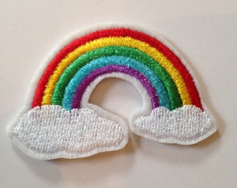 Rainbow and Clouds Iron on Patch