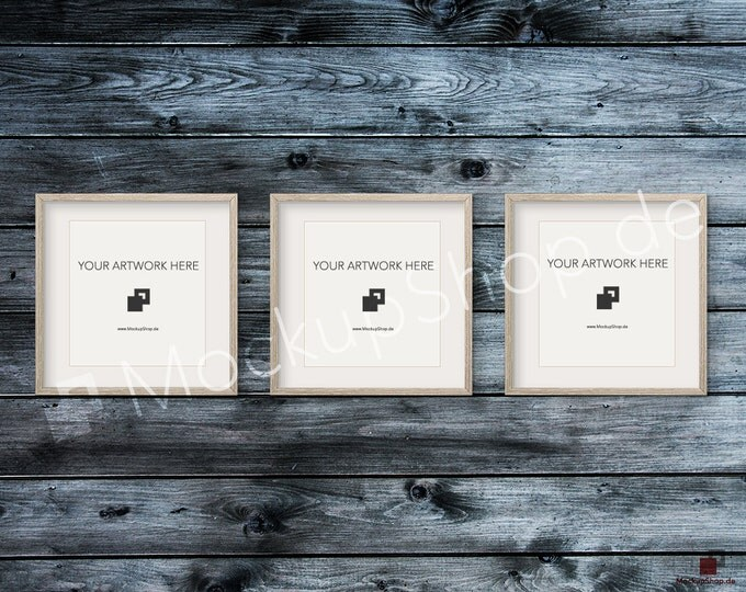 Set of 3 SQUARE MOCKUP FRAME on dark blue grey wooden wall, Frame Mockup, Amazing brown photo frame mockup, Digital Download