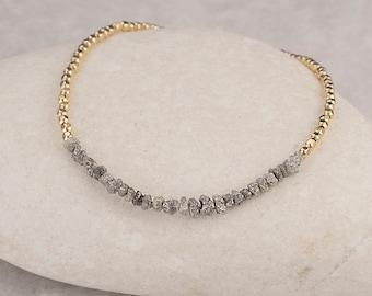 Rough Diamond Bracelet/Gray Rough Diamond stone Bracelet/Diamond Bracelet/Grey Diamond Bracelet/April Birthstone