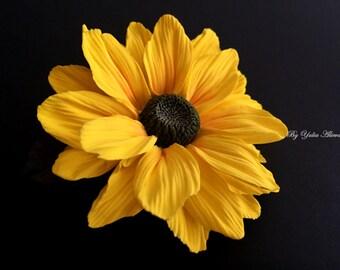 Barrette sunflower, sunflower brooch, flower barrette, brooch flower, Sunflower Hair Clip, Hair Accessories