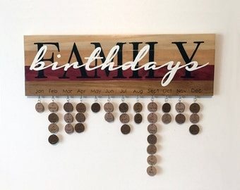 Family Birthdays Sign - Hand Painted - Never Forget a Date Again - Family Birthday Board
